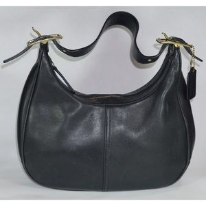 Coach Vintage Black Leather Hobo Shoulder Bag